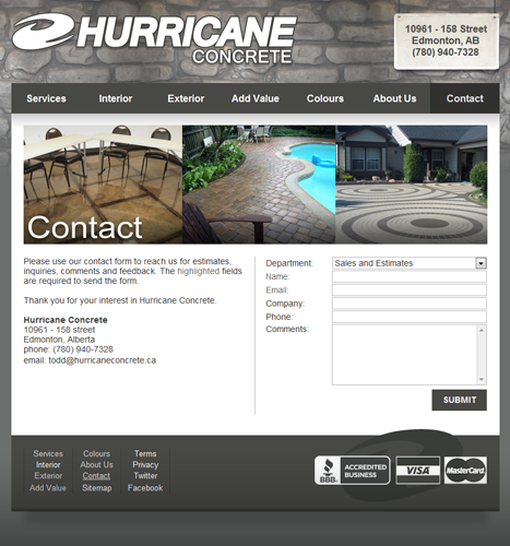 Web Design, Illustration, Photo Manipulation: Hurricane Concrete Website - Contact Page